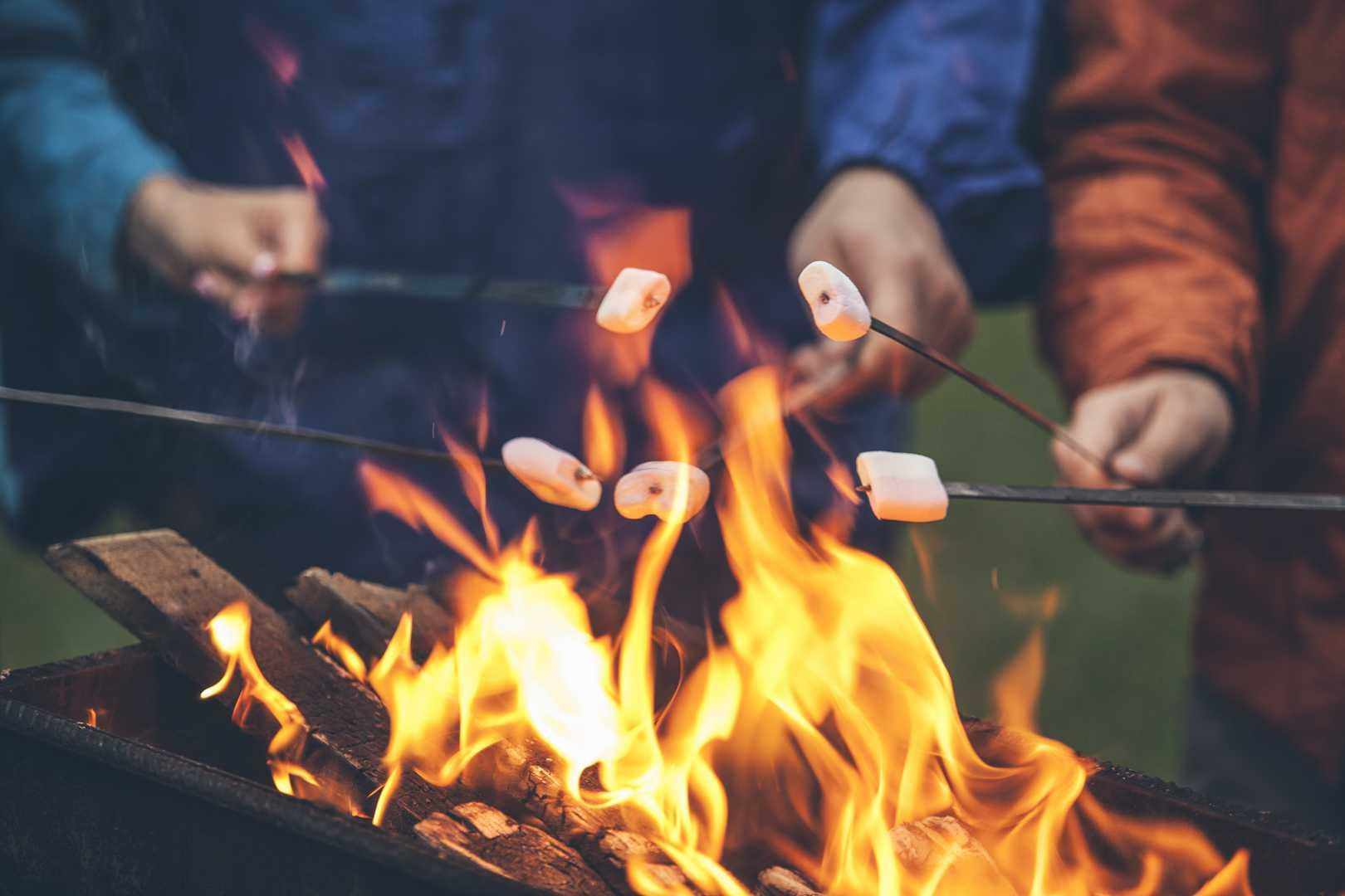 Freunde grillen Marshmallows über Feuer